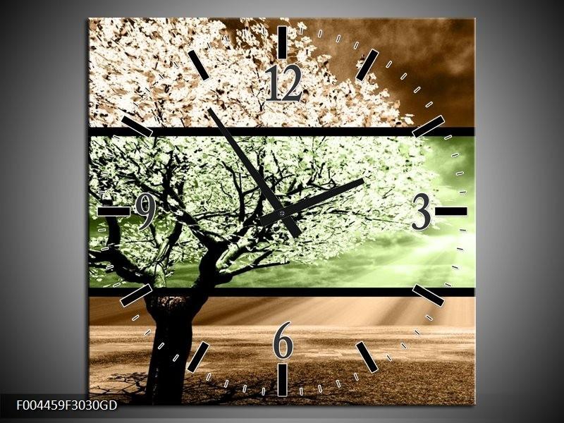 Wandklok op Glas Boom | Kleur: Bruin, Groen, Zwart | F004459CGD