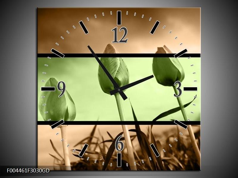 Wandklok op Glas Tulp | Kleur: Groen, Bruin | F004461CGD
