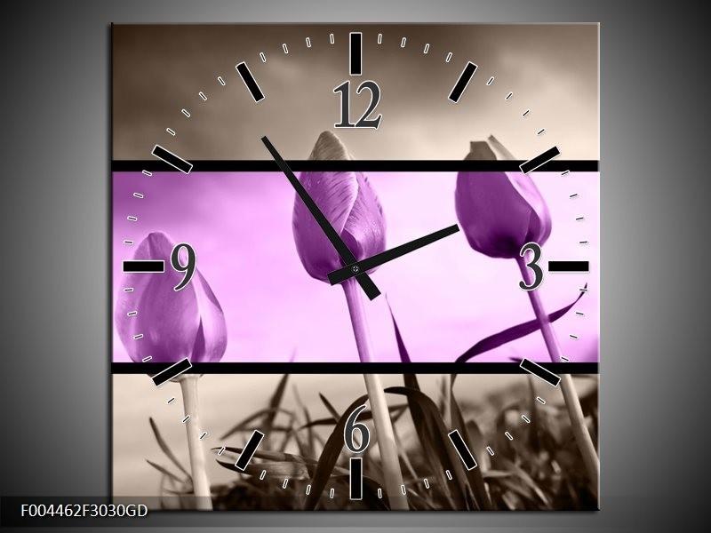 Wandklok op Glas Tulp | Kleur: Paars, Grijs, Zwart | F004462CGD