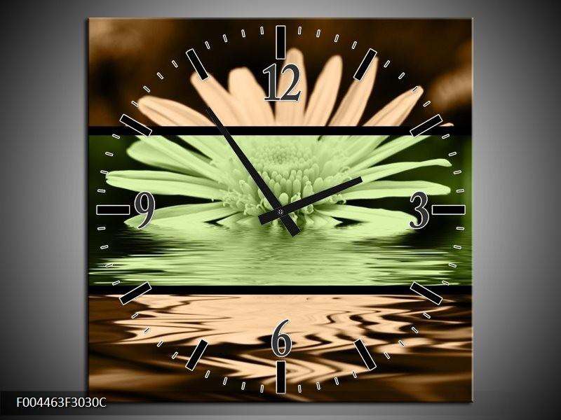Wandklok op Canvas Bloem | Kleur: Groen, Bruin, Zwart | F004463C