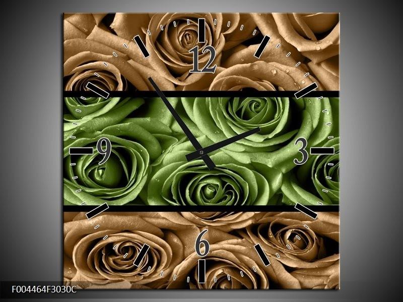 Wandklok op Canvas Roos | Kleur: Groen, Bruin, Zwart | F004464C