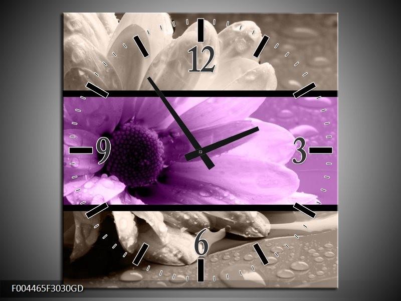 Wandklok op Glas Bloem | Kleur: Paars, Grijs, Zwart | F004465CGD