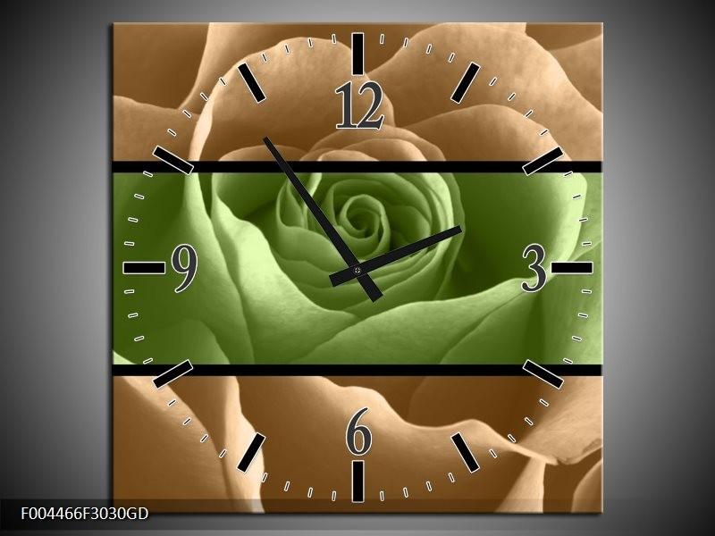 Wandklok op Glas Roos   Kleur: Groen, Bruin, Zwart   F004466CGD