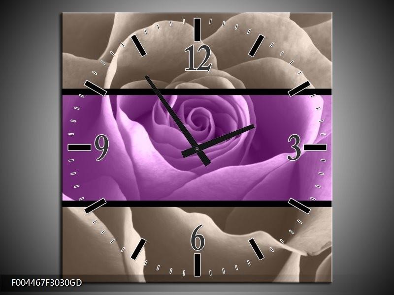 Wandklok op Glas Roos | Kleur: Paars, Grijs | F004467CGD