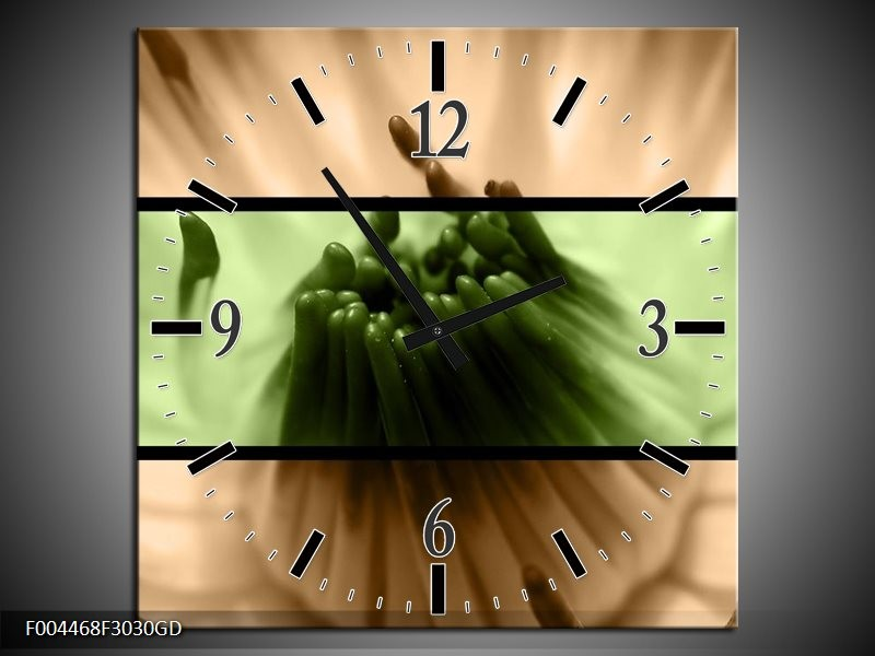 Wandklok op Glas Bloem | Kleur: Groen, Bruin, Zwart | F004468CGD