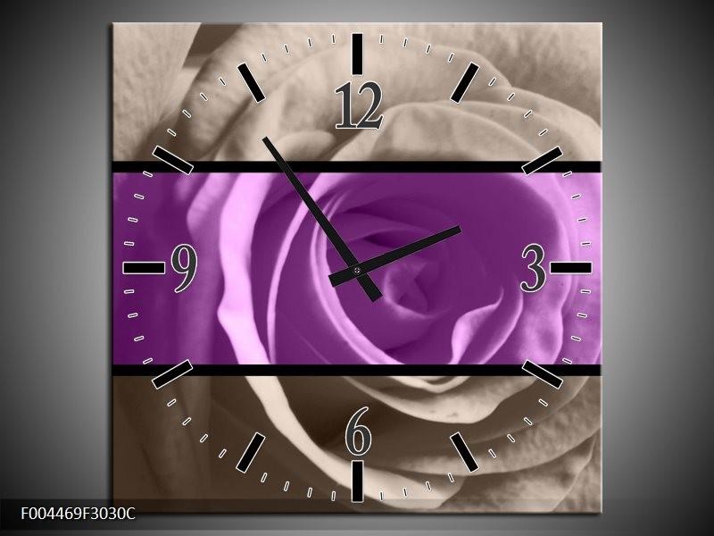 Wandklok op Canvas Roos | Kleur: Paars, Grijs, Zwart | F004469C