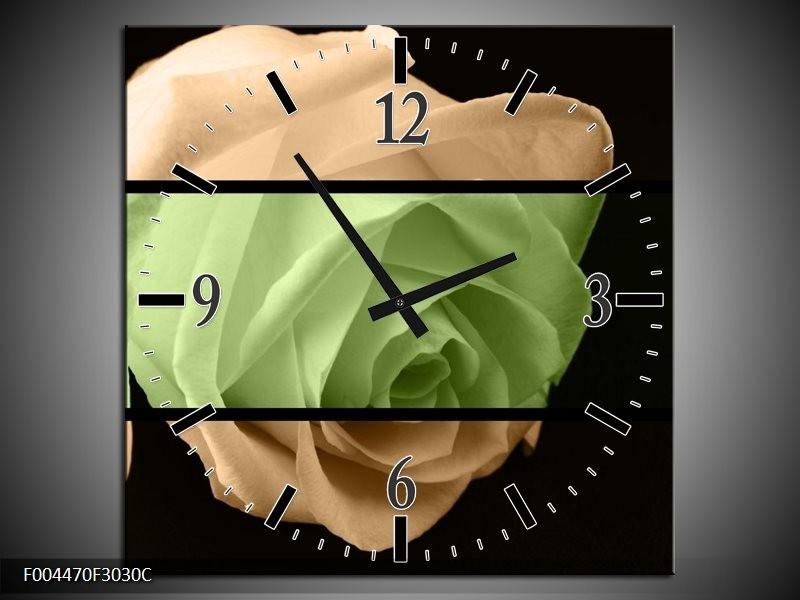 Wandklok op Canvas Roos | Kleur: Groen, Bruin, Zwart | F004470C