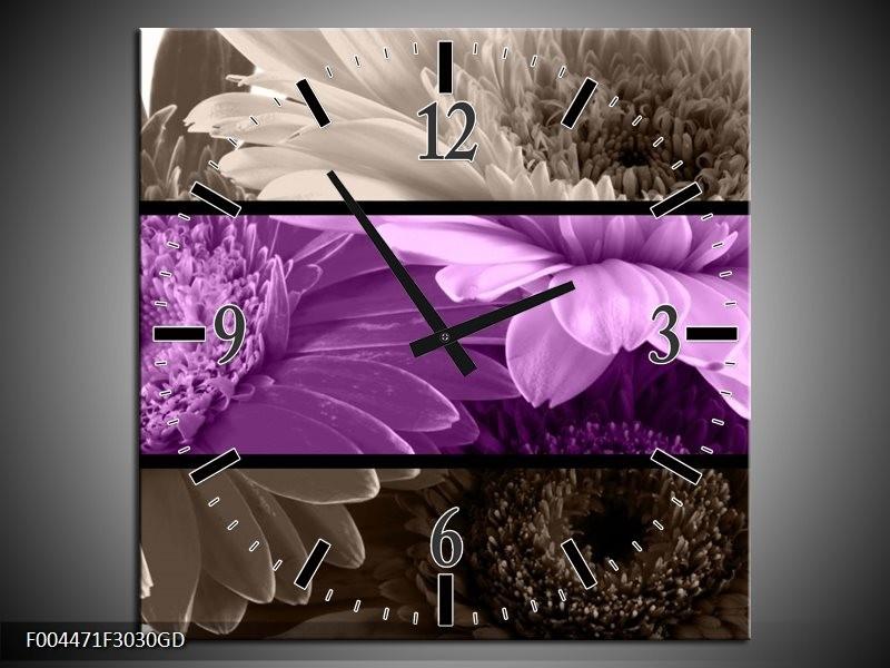 Wandklok op Glas Bloem | Kleur: Paars, Grijs | F004471CGD