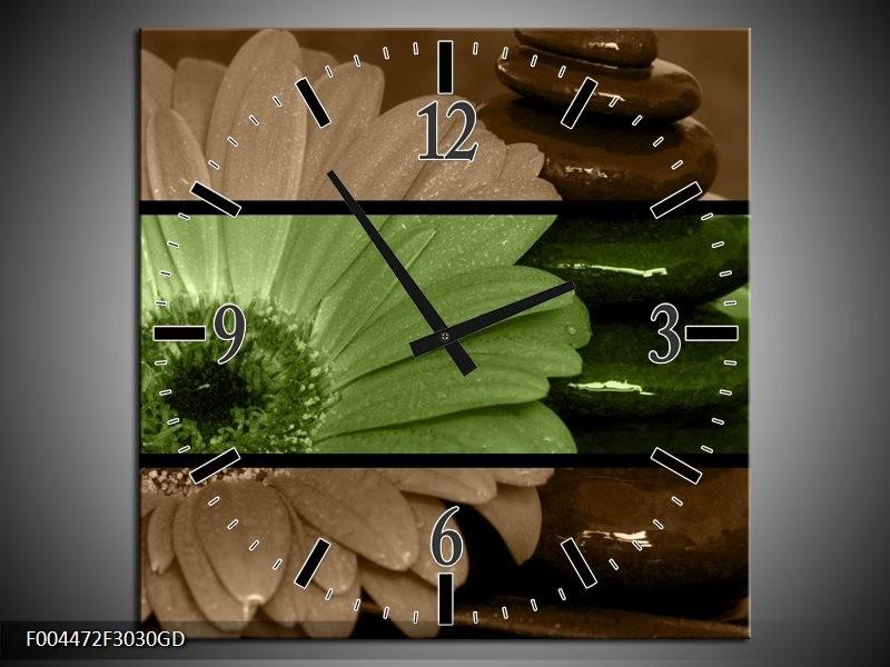 Wandklok op Glas Bloem | Kleur: Groen, Bruin | F004472CGD
