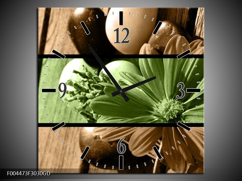 Wandklok op Glas Bloem | Kleur: Groen, Bruin | F004473CGD