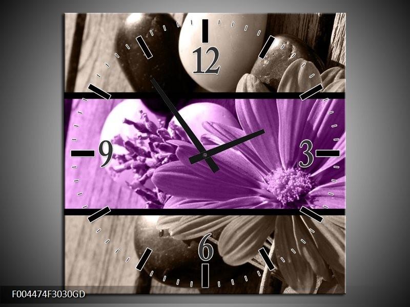 Wandklok op Glas Bloem | Kleur: Paars, Grijs | F004474CGD