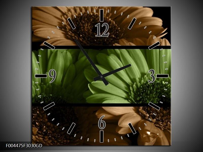 Wandklok op Glas Bloem | Kleur: Groen, Bruin | F004475CGD