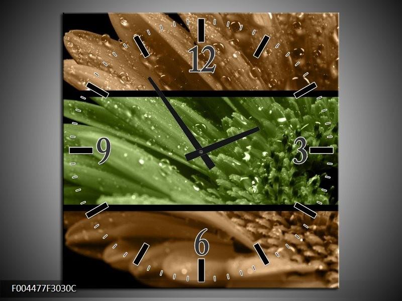 Wandklok op Canvas Bloem | Kleur: Groen, Bruin | F004477C