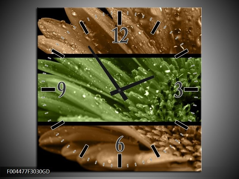 Wandklok op Glas Bloem | Kleur: Groen, Bruin | F004477CGD