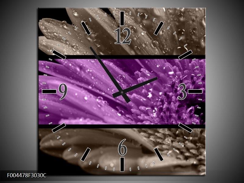Wandklok op Canvas Bloem | Kleur: Paars, Grijs | F004478C