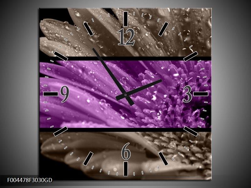 Wandklok op Glas Bloem | Kleur: Paars, Grijs | F004478CGD