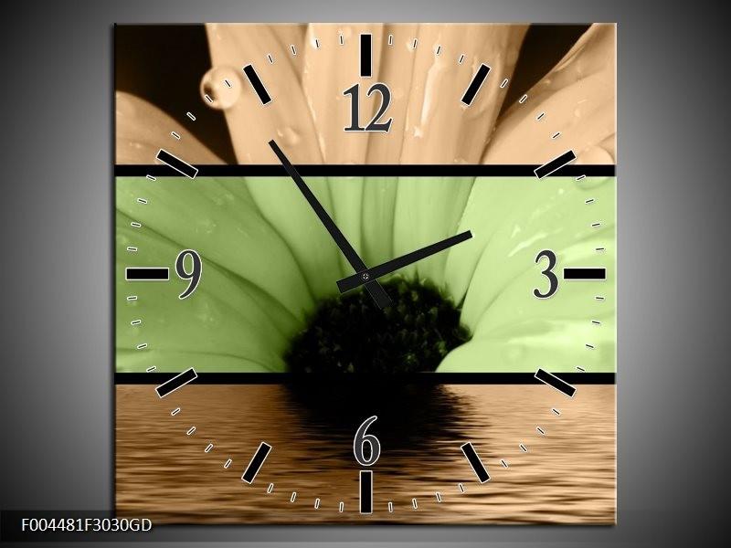 Wandklok op Glas Bloem | Kleur: Bruin, Groen, Zwart | F004481CGD