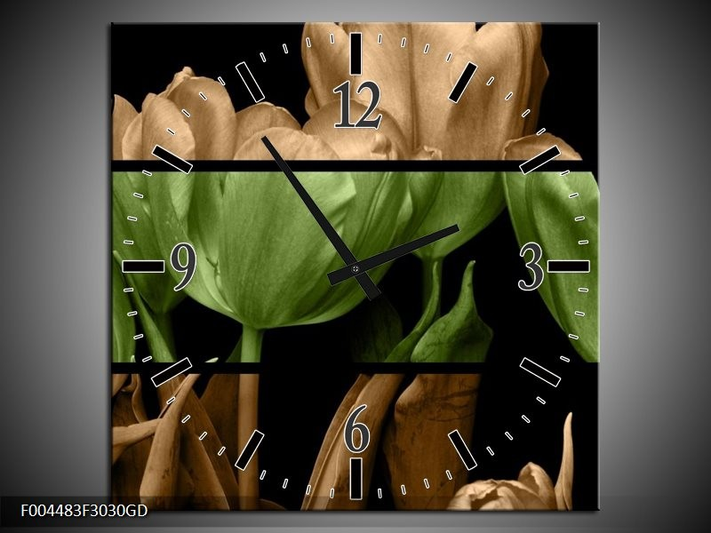 Wandklok op Glas Tulp | Kleur: Groen, Bruin, Zwart | F004483CGD