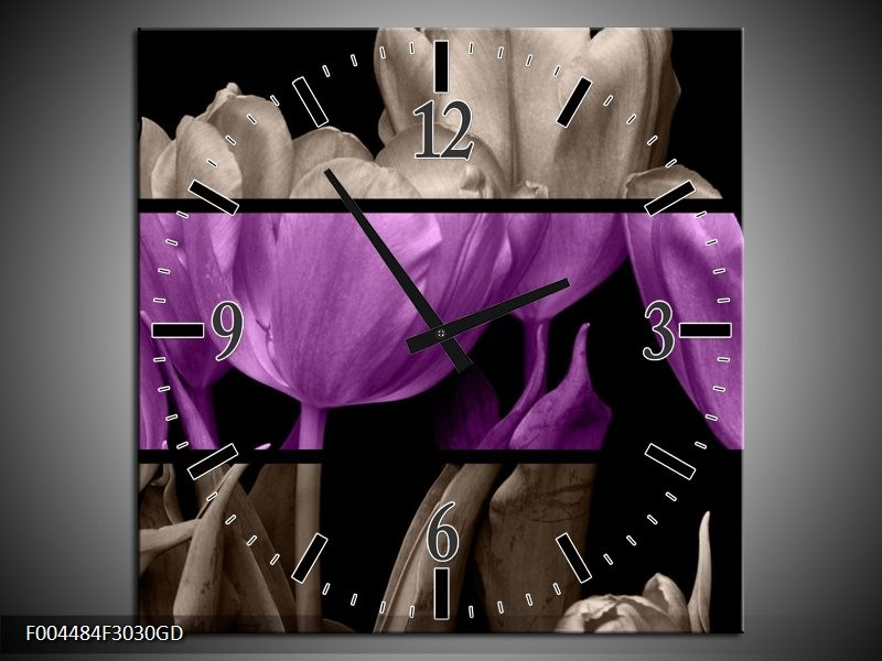 Wandklok op Glas Tulp | Kleur: Paars, Grijs, Zwart | F004484CGD
