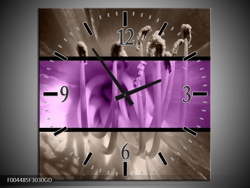Wandklok op Glas Bloem | Kleur: Paars, Grijs, Zwart | F004485CGD