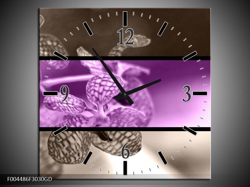 Wandklok op Glas Orchidee | Kleur: Paars, Grijs, Zwart | F004486CGD