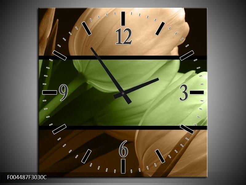Wandklok op Canvas Tulp | Kleur: Groen, Bruin, Zwart | F004487C
