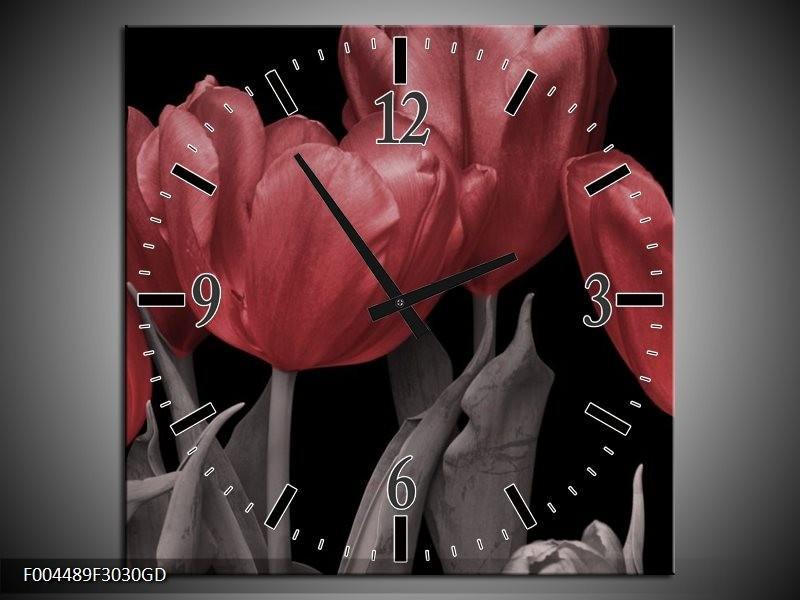 Wandklok op Glas Tulp | Kleur: Rood, Grijs, Zwart | F004489CGD