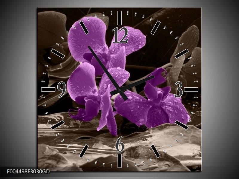 Wandklok op Glas Orchidee | Kleur: Paars, Grijs | F004498CGD