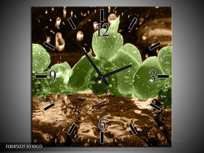 Wandklok op Glas Orchidee | Kleur: Groen, Bruin | F004502CGD