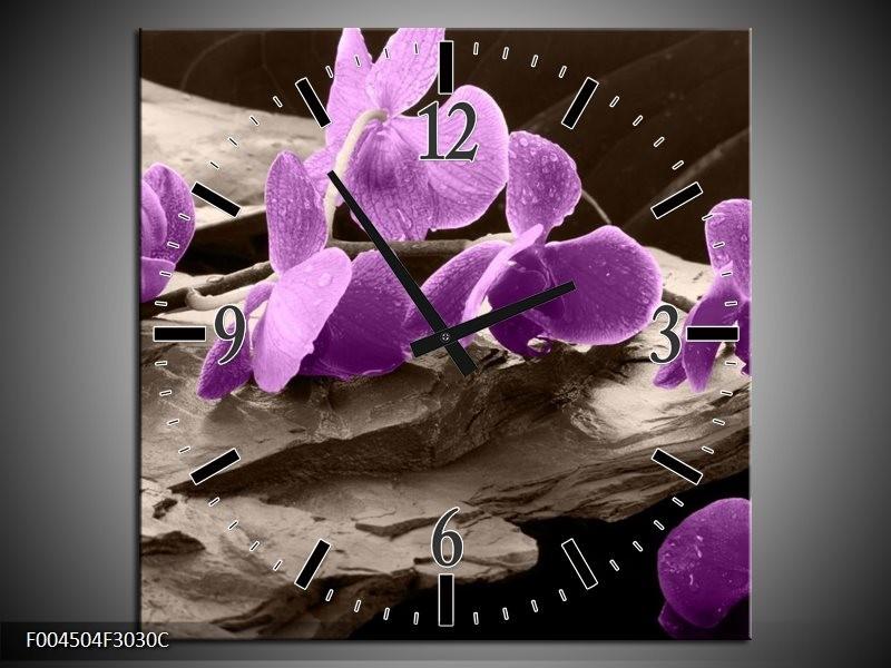 Wandklok op Canvas Orchidee | Kleur: Paars, Grijs | F004504C
