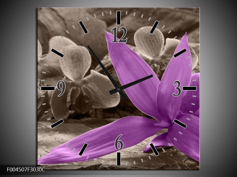 Wandklok op Canvas Orchidee | Kleur: Grijs, Paars | F004507C