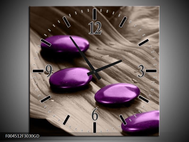 Wandklok op Glas Spa | Kleur: Paars, Grijs | F004512CGD