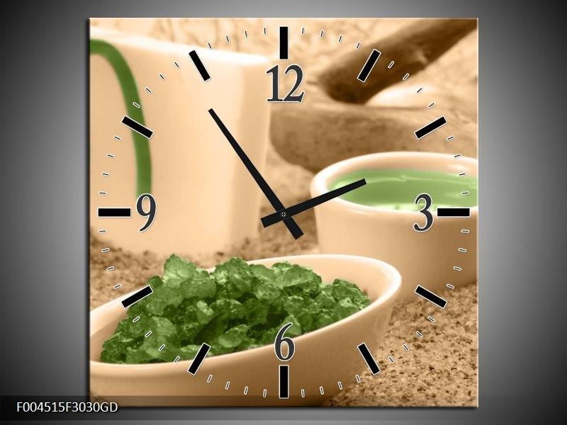 Wandklok op Glas Spa   Kleur: Groen, Bruin   F004515CGD