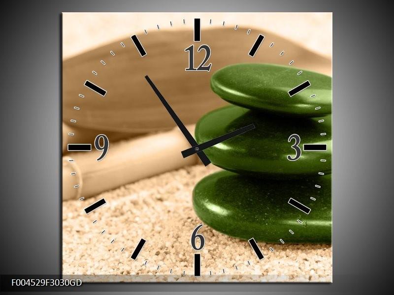 Wandklok op Glas Spa | Kleur: Groen, Bruin | F004529CGD