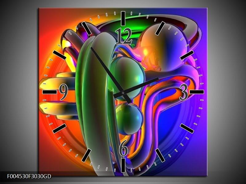 Wandklok op Glas Modern | Kleur: Rood, Blauw, Groen | F004530CGD