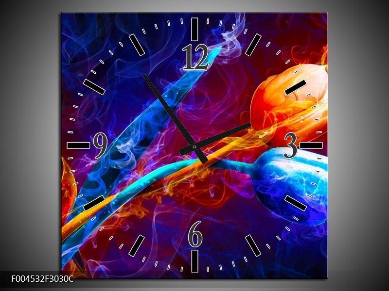 Wandklok op Canvas Tulp | Kleur: Blauw, Rood, Oranje | F004532C
