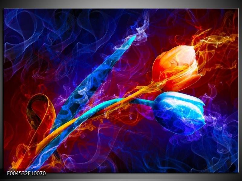 Glas schilderij Tulp   Blauw, Rood, Oranje