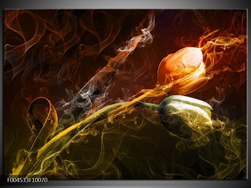 Glas schilderij Tulp   Oranje, Groen, Geel