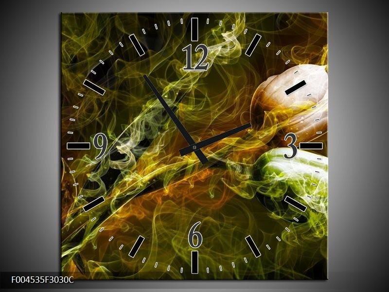 Wandklok op Canvas Tulp | Kleur: Groen, Geel | F004535C