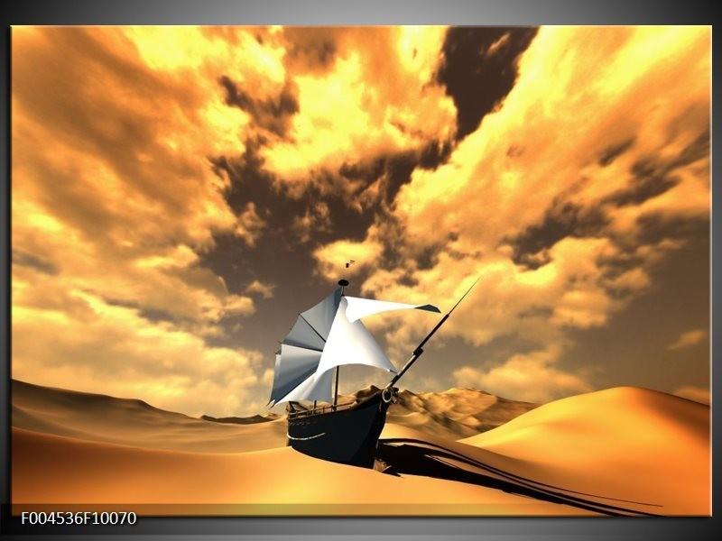 Glas schilderij Boot | Geel, Bruin, Wit