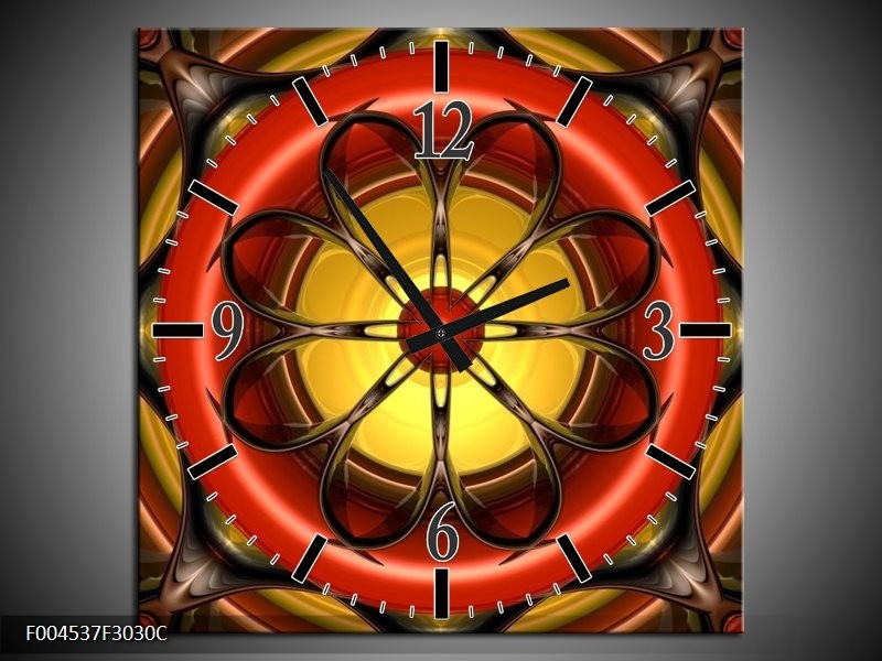Wandklok op Canvas Modern | Kleur: Rood, Geel, Zwart | F004537C
