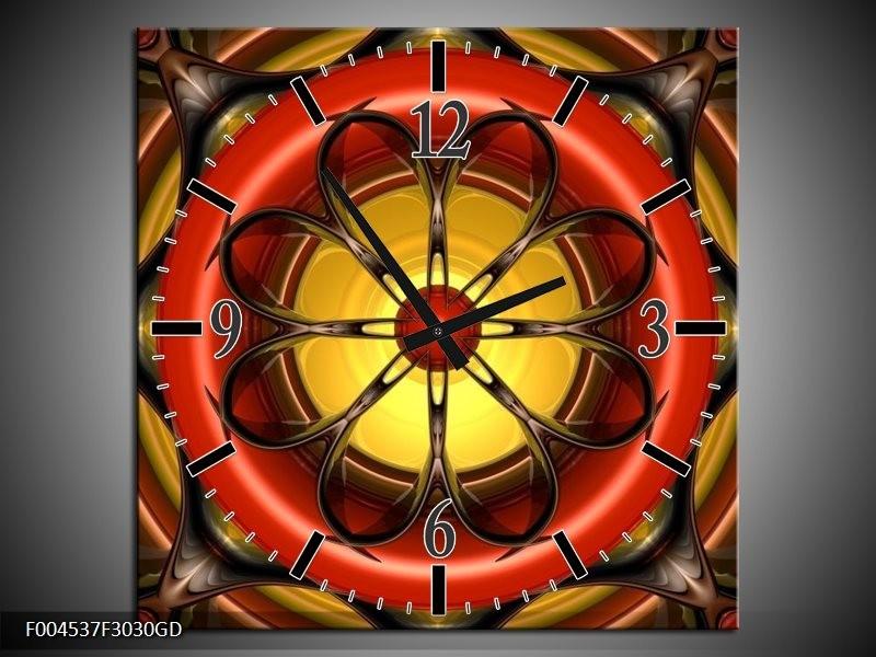 Wandklok op Glas Modern   Kleur: Rood, Geel, Zwart   F004537CGD