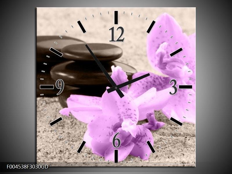 Wandklok op Glas Orchidee | Kleur: Paars, Grijs, Zwart | F004538CGD