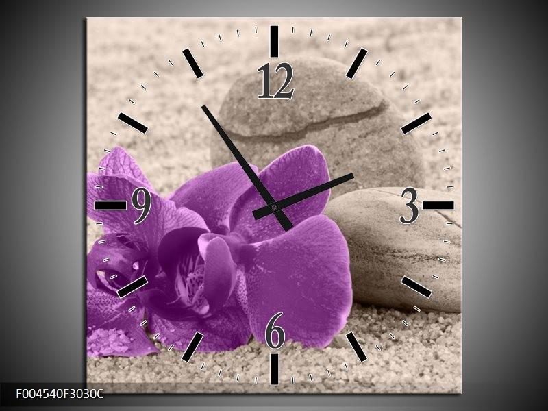 Wandklok op Canvas Orchidee | Kleur: Paars, Grijs | F004540C