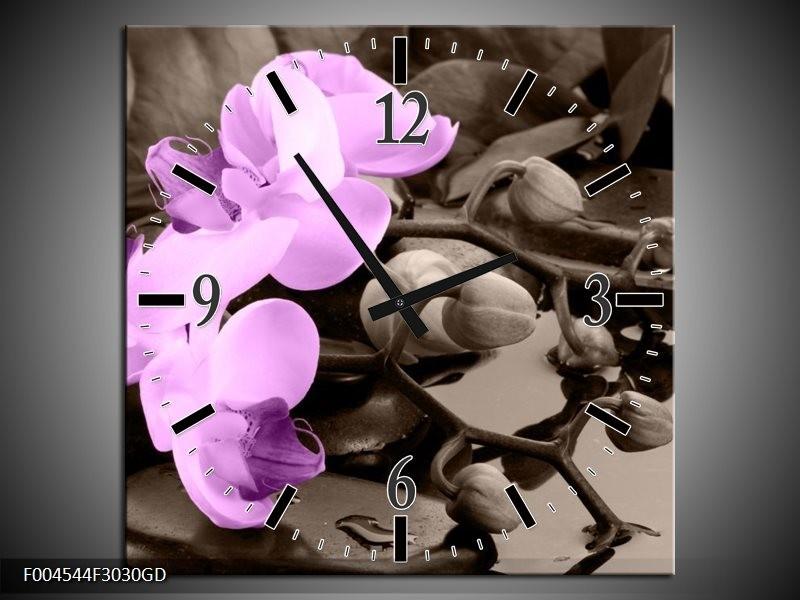 Wandklok op Glas Orchidee | Kleur: Paars, Grijs | F004544CGD