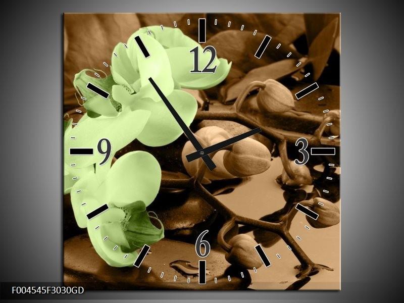 Wandklok op Glas Orchidee   Kleur: Groen, Bruin   F004545CGD