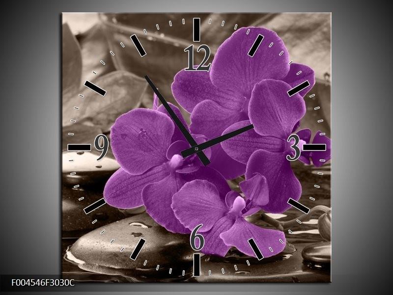 Wandklok op Canvas Orchidee   Kleur: Paars, Grijs   F004546C