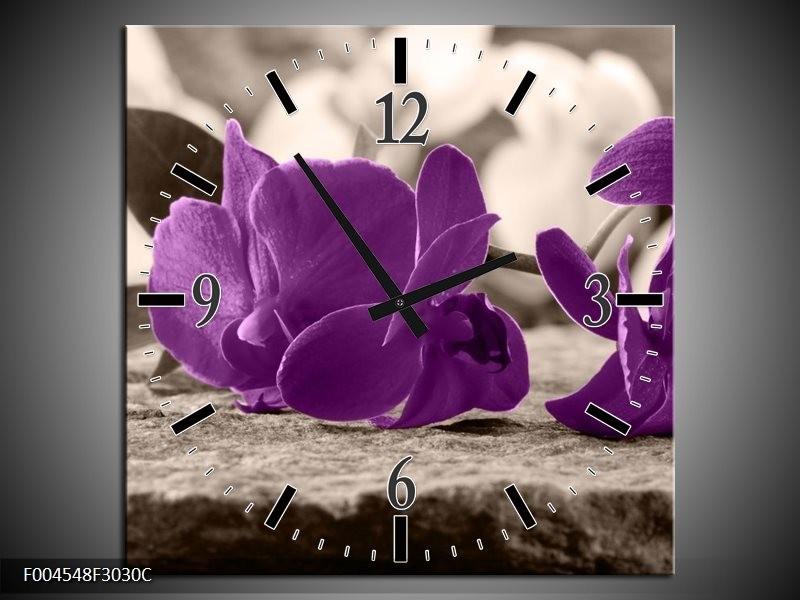 Wandklok op Canvas Orchidee | Kleur: Paars, Grijs | F004548C