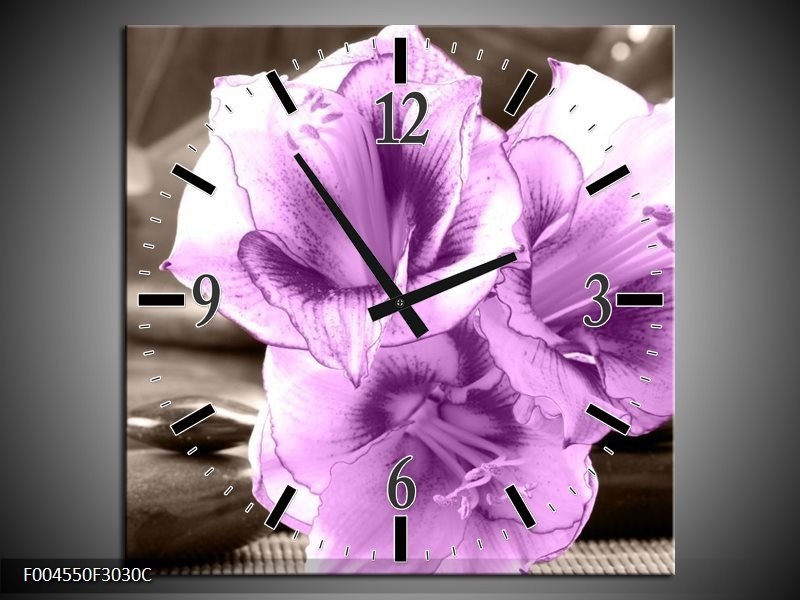 Wandklok op Canvas Orchidee | Kleur: Paars, Grijs | F004550C