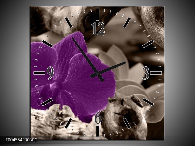 Wandklok op Canvas Orchidee | Kleur: Paars, Grijs | F004554C